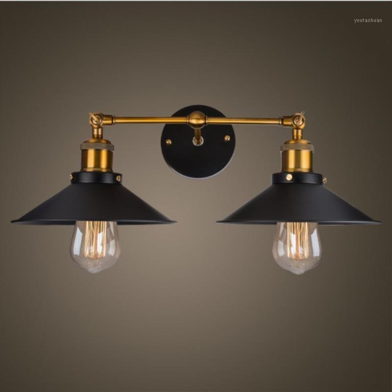 빈티지 로프트 금속 더블 헤드 벽 라이트 레트로 황동 벽 램프 국가 스타일 E27 Edison Sconce 램프기구 골드 Sconce1