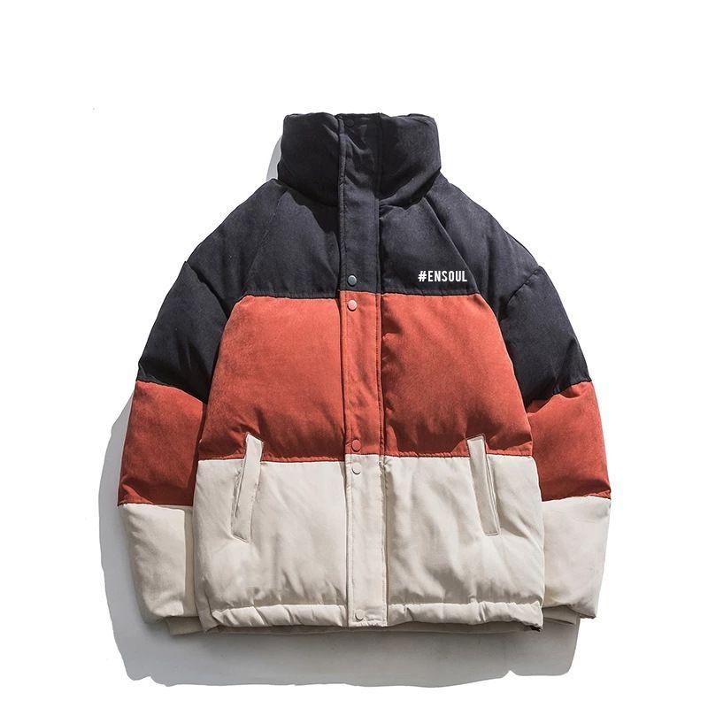 Мужская зима вниз шелковый хит цвет шить утолщение теплый хлопок мягкая многосмысленная куртка