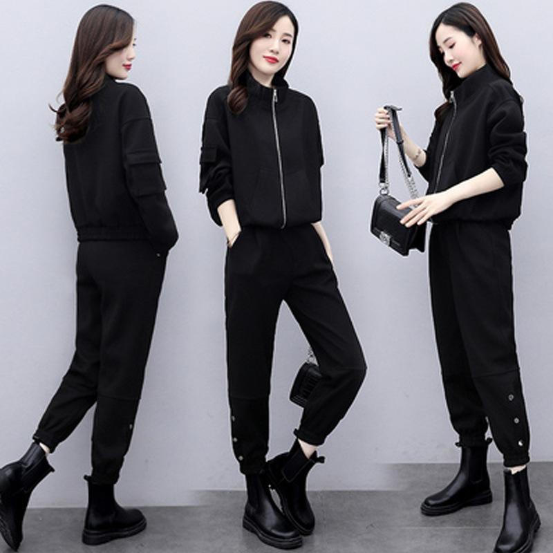 2 pièces Zipper Corp Hauts Pantalons Coat Cargo Ensembles Femmes Mode Automne Hiver Salopette Veste de sport Costumes Pull Femme