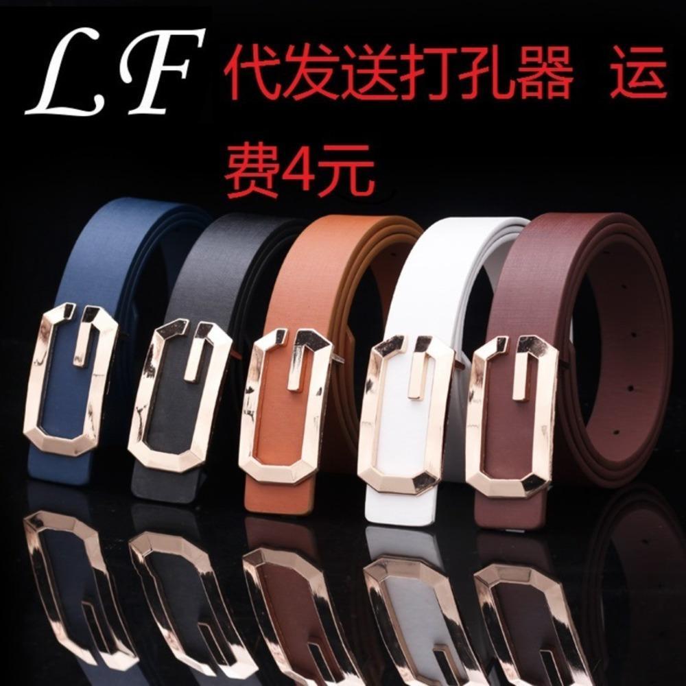 Taobao New Fashion Hombres y mujeres con forma de G en forma de G Dorado Neutral G-letra Cinturón de hebilla lisa 5DUT
