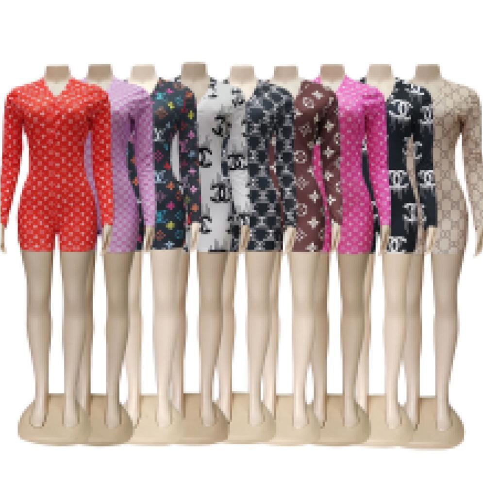 Été Femmes Designer Sexy barboteuses Combinaisons Décolleté en V Imprimé Shorts Bouton à manches longues Tight Pants Salopette CY0908