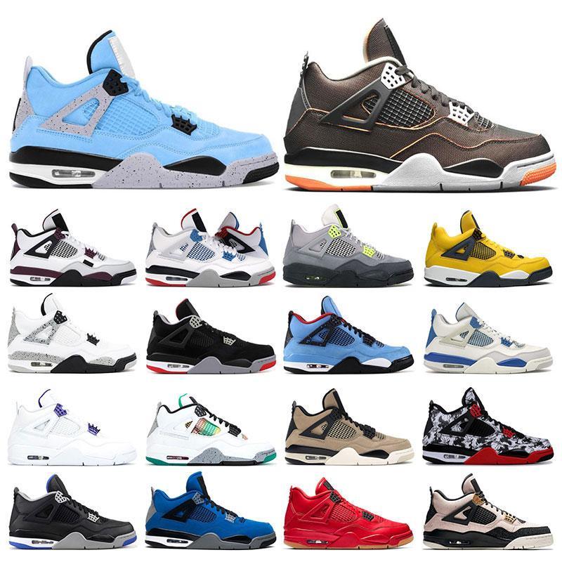 Air Jordan Mens zapatillas de deporte zapatillas de baloncesto 4S AJ 4 University Blue Starfish Fire Rojo Púrpura Metálico Blanco Cemento Mujeres Deportes Deportes 7-13