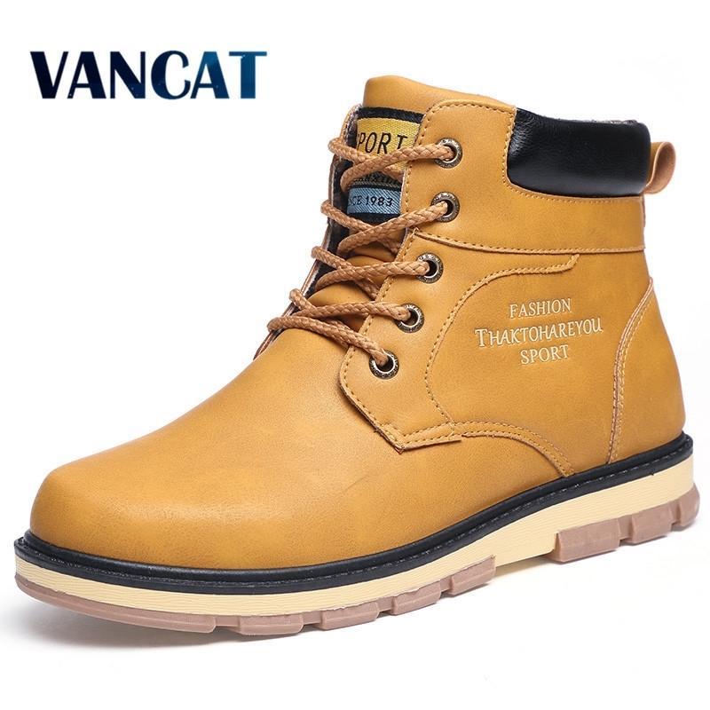 Vancat Super Warm Winter PU Stivaletti in pelle PU Stivaletti da uomo autunno stivali da neve impermeabili per il tempo libero stivali da uomo scarpe da uomo scarpe da uomo 201204