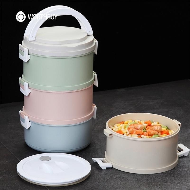Worthbuy Japonês Microondas Plástico Lancheira para Crianças Crianças Bento Caixa Portátil Prova de Vazamento Bento Lunch Box Recipiente de Alimentos 201210