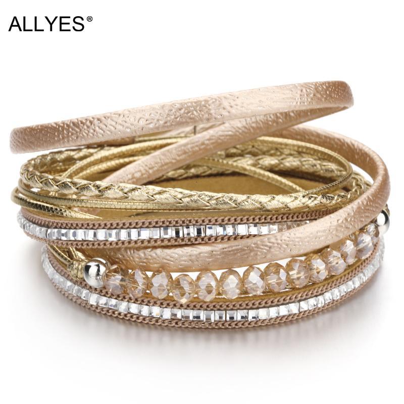 Designer barato Allyes Couro multicamadas das mulheres conta bracelete de cristal Bohemian pulseira corda tecida pulseira pacote grande loja de jóias