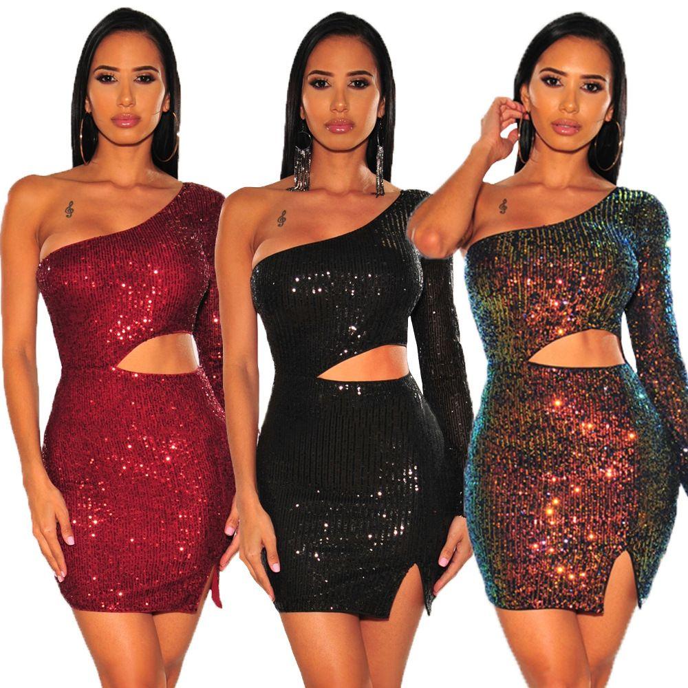 Тонкий Блестки Sexy женщин платья выдалбливают одно плечо женщины конструктора платье сплошного цвета Casual одежда