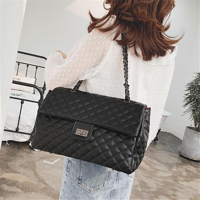 Классическое плечо раскладует PU женские кожаные модные сумки модные сумочки с твердой цепью большой для цветов плед простая сумка мешок мешок мешок OCSLB