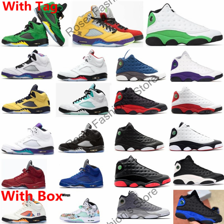 Con la caja 5 Lo que el fuego rojo 5s Oregon patos para hombre de los zapatos de baloncesto 13s 13 3M verde afortunado Flint Deportes zapatillas Shippment libre