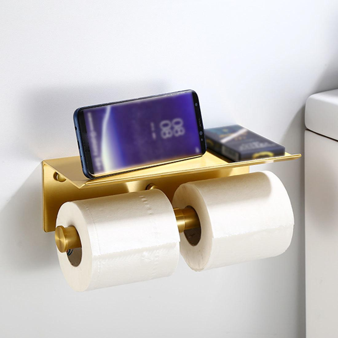 2020 Kitchen Wall Mounted Black Toilet Paper Towel Roll Holder With Cell Phone Storage Rack Bathroom Accessories From Shopping8mall 10 08 Dhgate Com