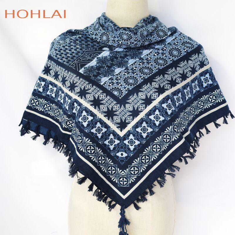 * Women New Fashion Nations Wind Geometric Striped Pattern Printed Hand Made Tassels Square Scarves Big Shawls LJ201113