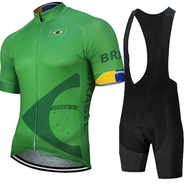 2021 Brezilya Bisiklet Jersey Pro EAM Bisiklet Şort Takım Elbise MTB erkek Yaz Bisiklet Giyim Triatlon Skinsuit Maillot Ciclismo Hombre C0123