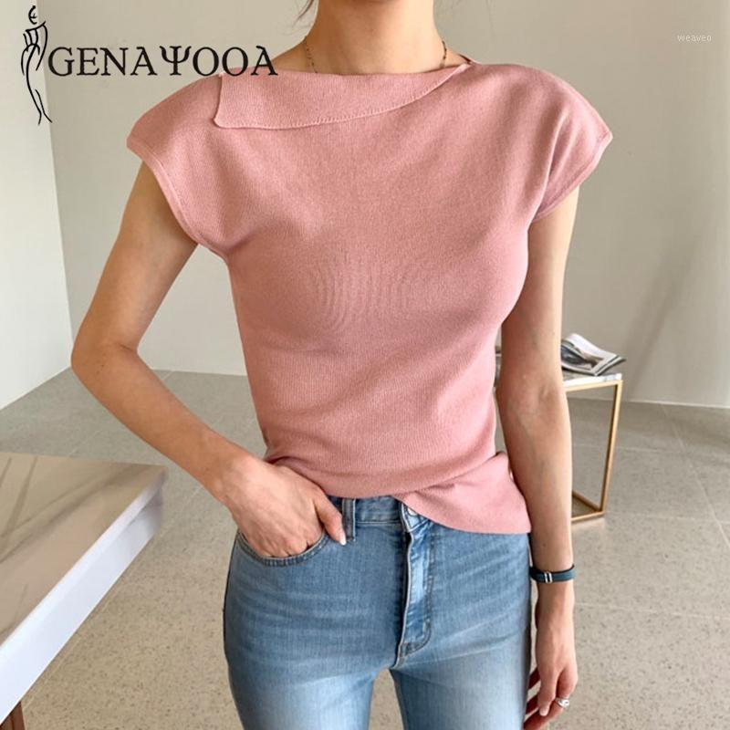 Женская футболка Genayooaa повседневная короткая футболки женщины 2021 летние сплошные винтажные вершины Mujer вязаный кошу воротник белая рубашка дамы корейский стиль