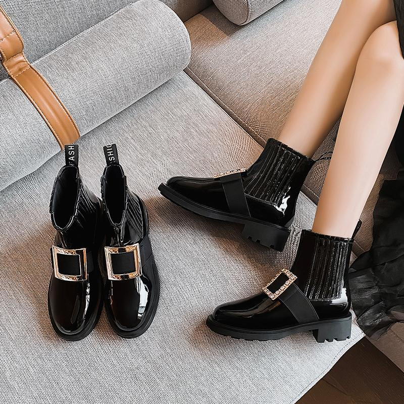 Fashion Women Ankle Boot Genuine Leather Shoes New 2020 Fashion Boots Warm Ankle Non-slip Women Boots Black 043248