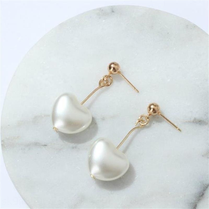 Versione kvQbm B446 coreana della perla e la ragazza del cuore yuansuo smerigliato cuore collana di perle a forma di pesca di amore Orecchini sorella morbido orecchini