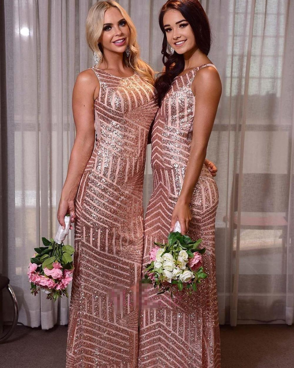 Bling Bling Sequins Bridesmaid Dresses Sccop Neck Mermaid Maid of Honor Dress for Wedding Party