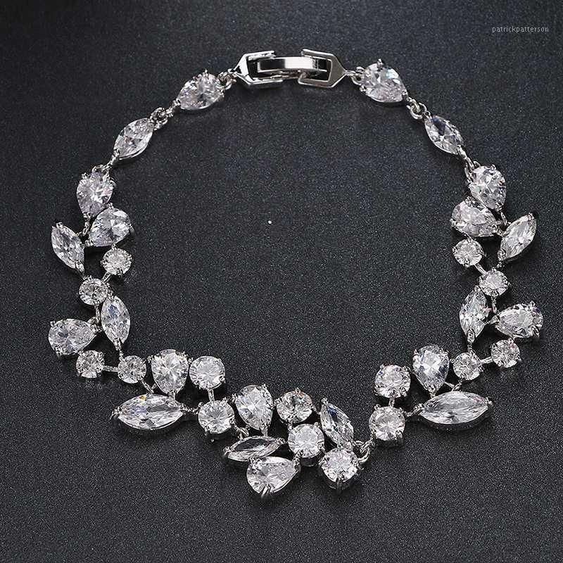 Luxe Brilliant Marquise Couper Cubic Zirconia Femmes Bracelets Anniversaire Blanc Gold Couleur Prix B-0111