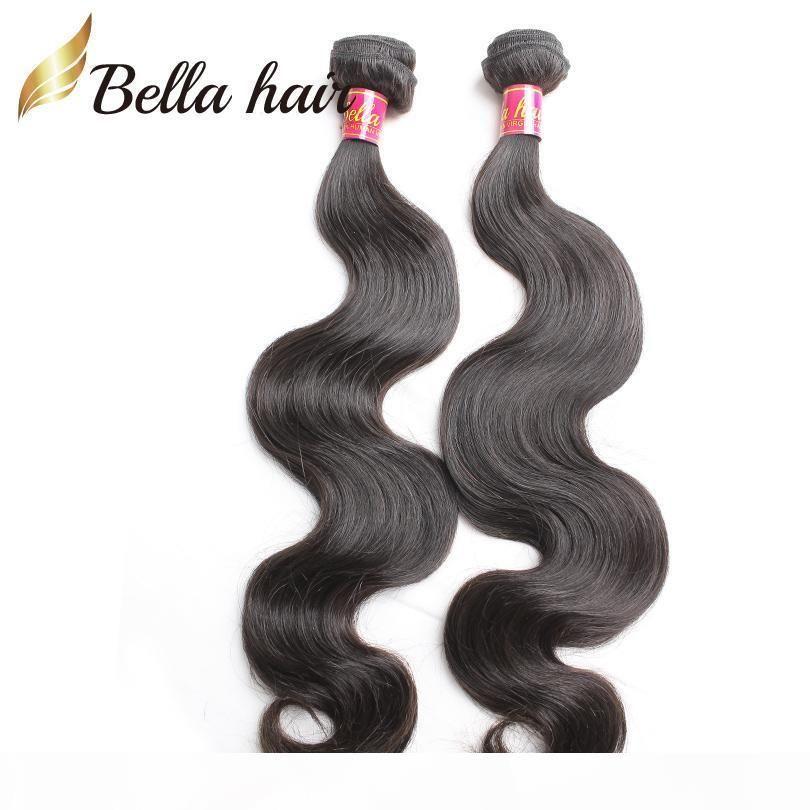8 ~ 30 inç 100% Bakire Saç Örgüleri Hint İnsan Saç Demetleri Doğal Renk Vücut Dalga Saç Uzatma Ücretsiz Kargo Bellahair