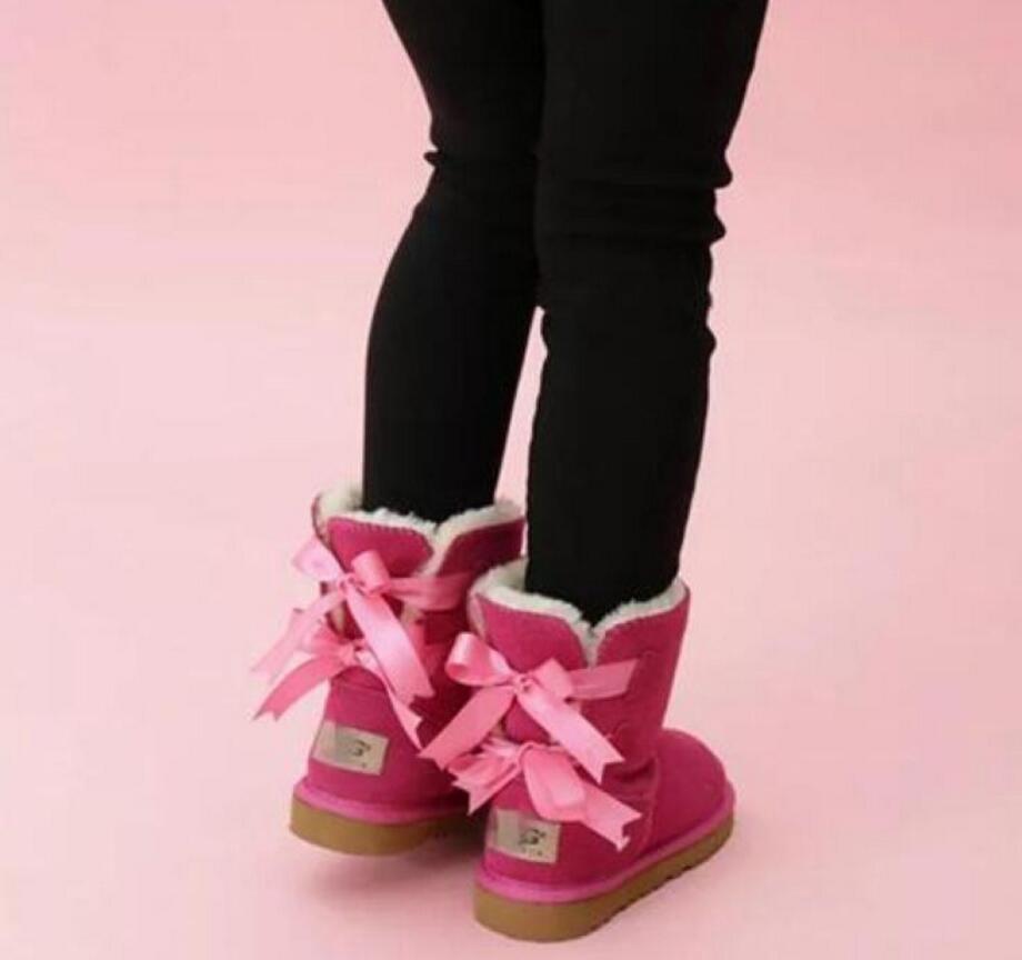 enfants Bailey 2 Bows Bottes en cuir véritable tout-petits Bottes de neige solide Botas De Nieve Filles d'hiver Chaussures enfant en bas âge Filles Bottes