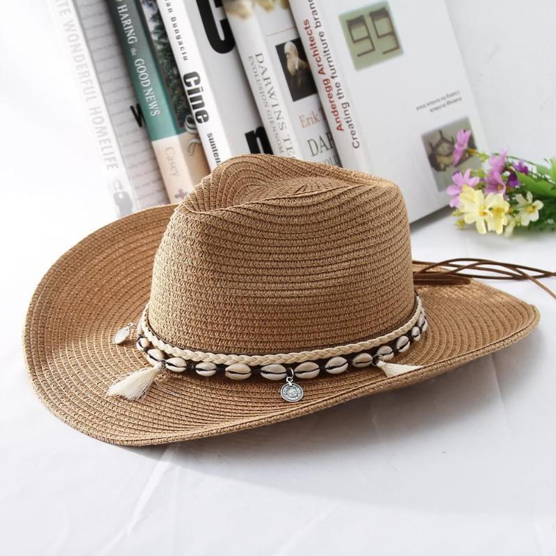 GEMVIE 2020 Shell Quasten Cowgirl-Sommer-Hut Strohhut für Frauen Männer Western-Cowboy-Lady Trendy Woven Sun Beach Cap