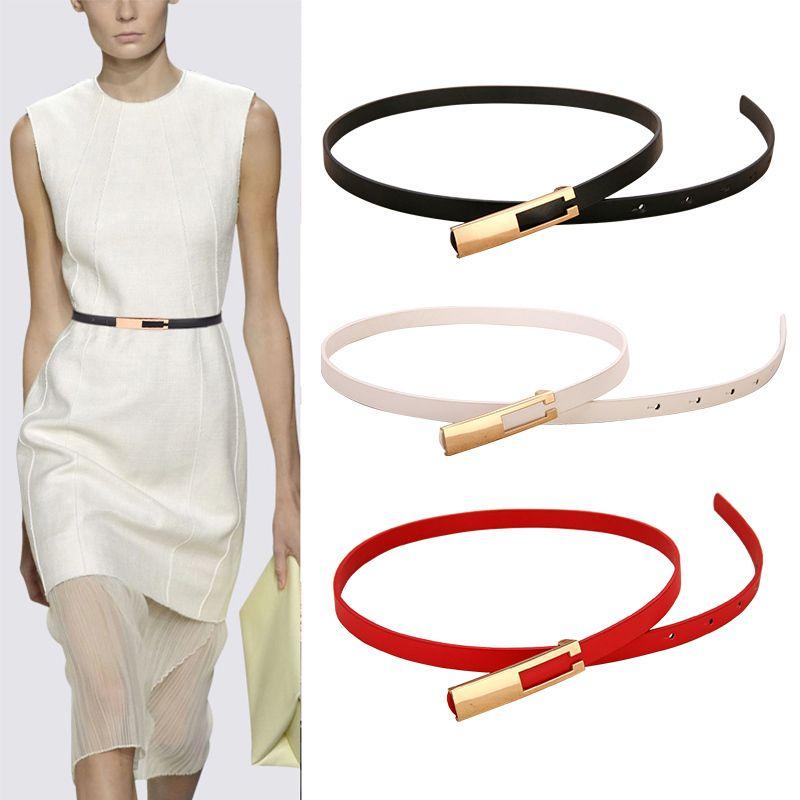 Fivela metálica fina Moda Wild Women Leather Belt Black Red White Straps Cintura Feminino Vestido Acessórios