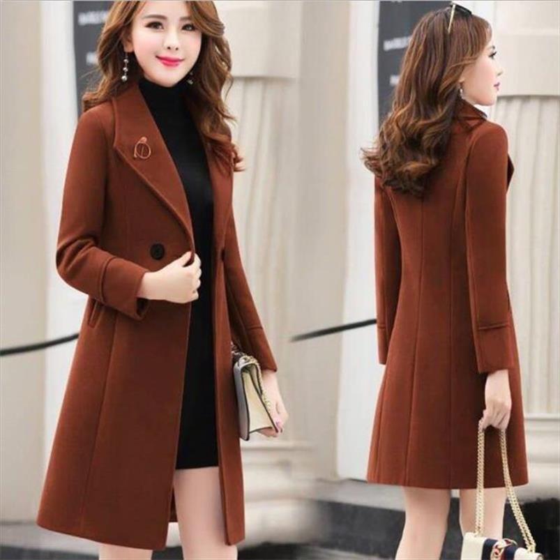 Femminile lungo Slim miscela di lana della tuta sportiva 2020 della moda di New donne cappotto elegante Cappotto Donna Autunno Inverno giacca abbigliamento