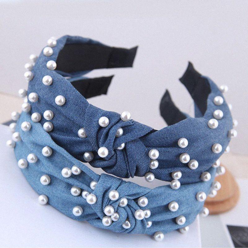 Simulation Perle Frauen Haarband Band-Haar-Zusatz-Rock-Denim Blue Solid Color geknotete Lünette Kopf Schmuck Ornaments Turban MCLA #