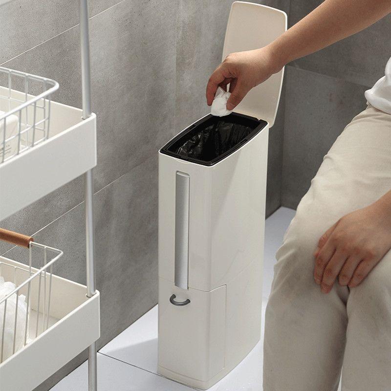 ضيق القمامة بن الحمام سلة المهملات يمكن مع فرشاة المرحاض حقيبة القمامة حامل النفايات بن المنزل البلاستيك القمامة بن ديلبين 3 في 1 201111
