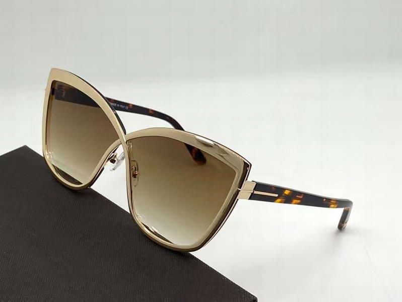 0715 Gold Big Metal Cat Eye Sunglasses Sonnenbrille Women Glasses Gafas De Sol De Shades New With Box Gtgbl