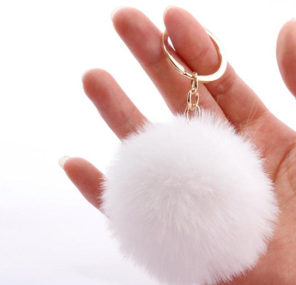 الأرنب الفراء الكرة سلسلة المفاتيح لينة الفراء الكرة جميلة الذهب معدن مفتاح سلاسل الكرة بوم بومس أفخم المفاتيح مع p jllrvh bde_jewelry