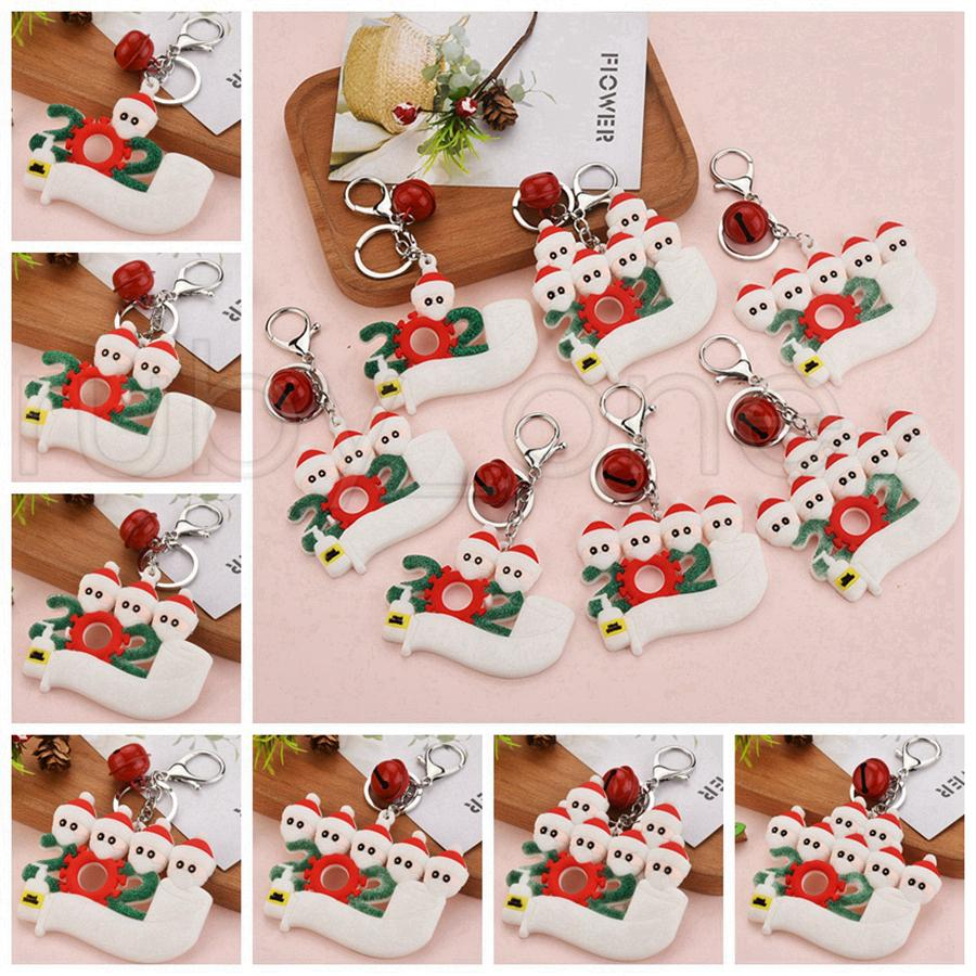 PVC-Schlüsselanhänger Ornamente Quarantine Schlüsselanhänger mit Gesichtsmaske Spielzeug Anhänger Weihnachten Schlüsselanhänger Schneemann mit Hand Sanitizer RRA3659