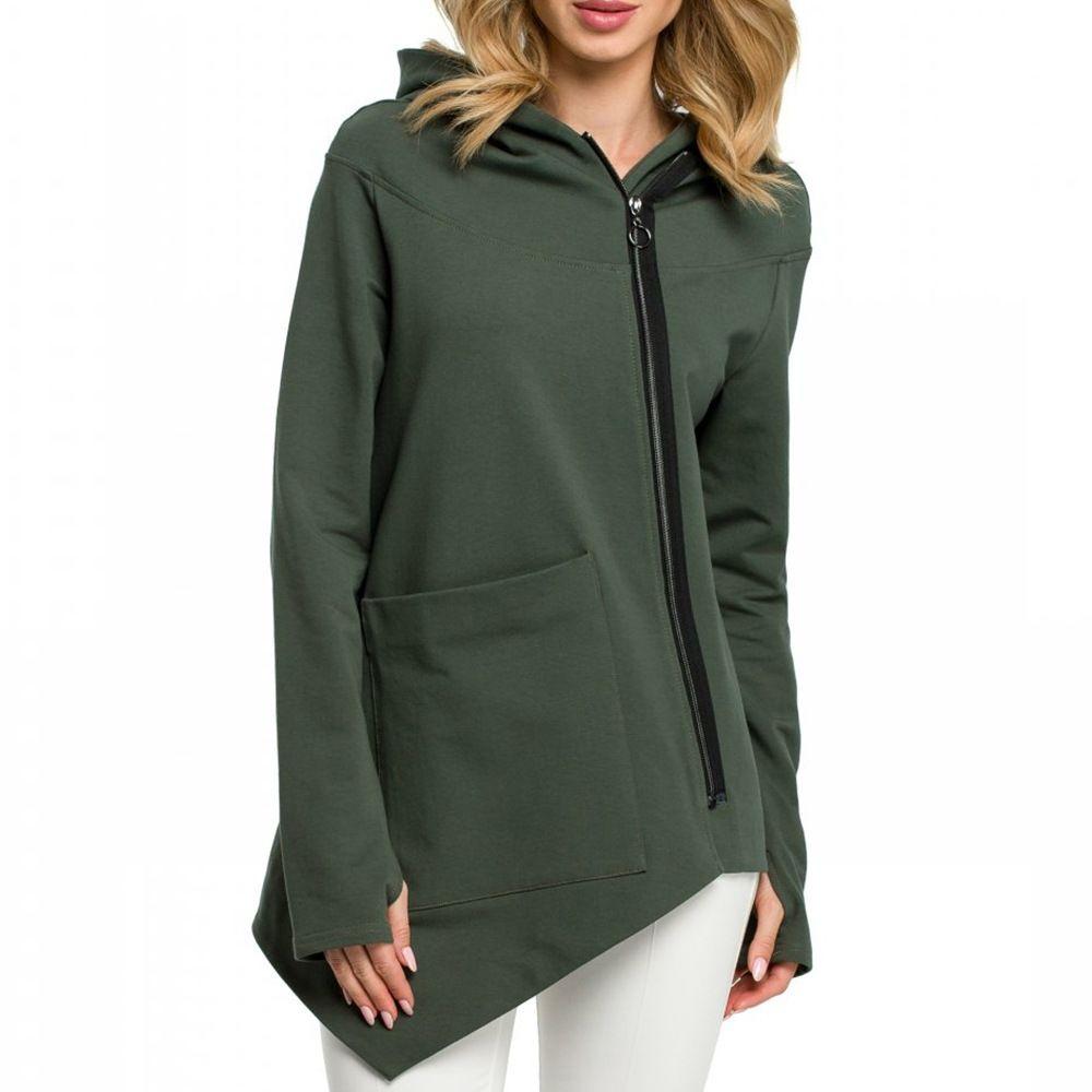 Fashion Oblique Zipper Long Sleeve Loose Hoodies Women Autumn Irregular Casual Women's Sweatshirt Hoodie Sweat Femme 200930