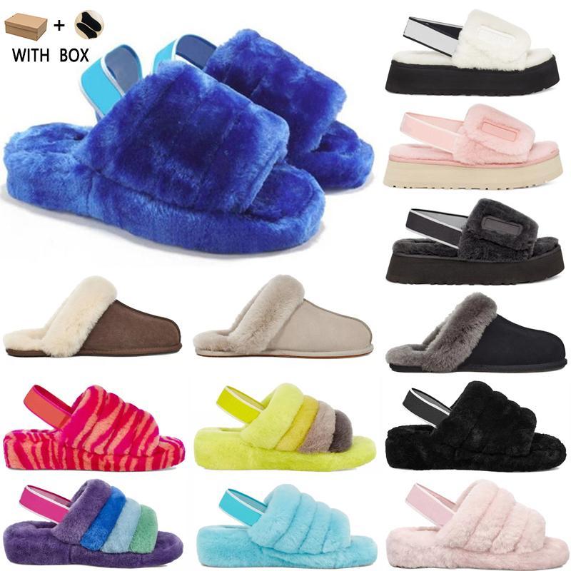 2021 Puffer Australiana dos EUA Womens Designer Slipper Furry fofo Yeah Slides Pantoufles Sandálias de luxo de pele # 5920