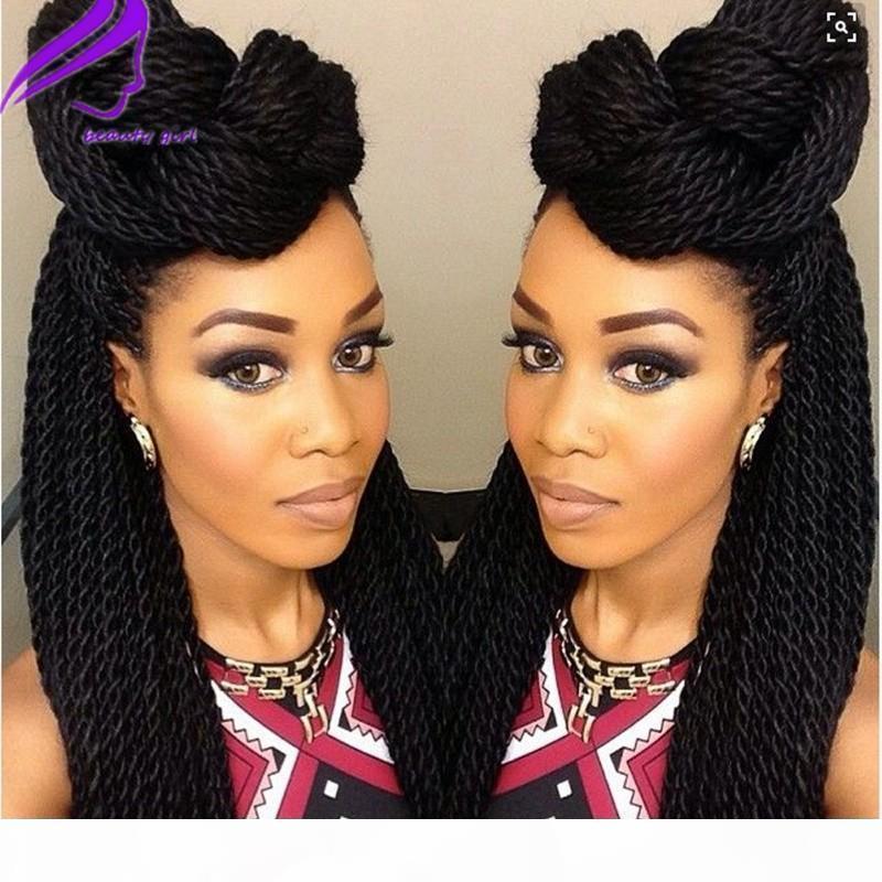 Синтетические плетеные кружевные парики для чернокожих женщин 1b Теплостойкие 26 дюймов волос оплетки парики Premium плетеные коробки косы парик