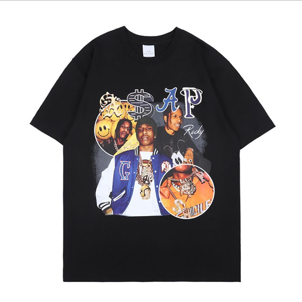 Nagri Asap Rocky T-Shirt Erkekler Hip Hop Streetwear Harajuku Vintage T Gömlek Grafik Baskılı Rahat Kısa Kollu Tee Q1219