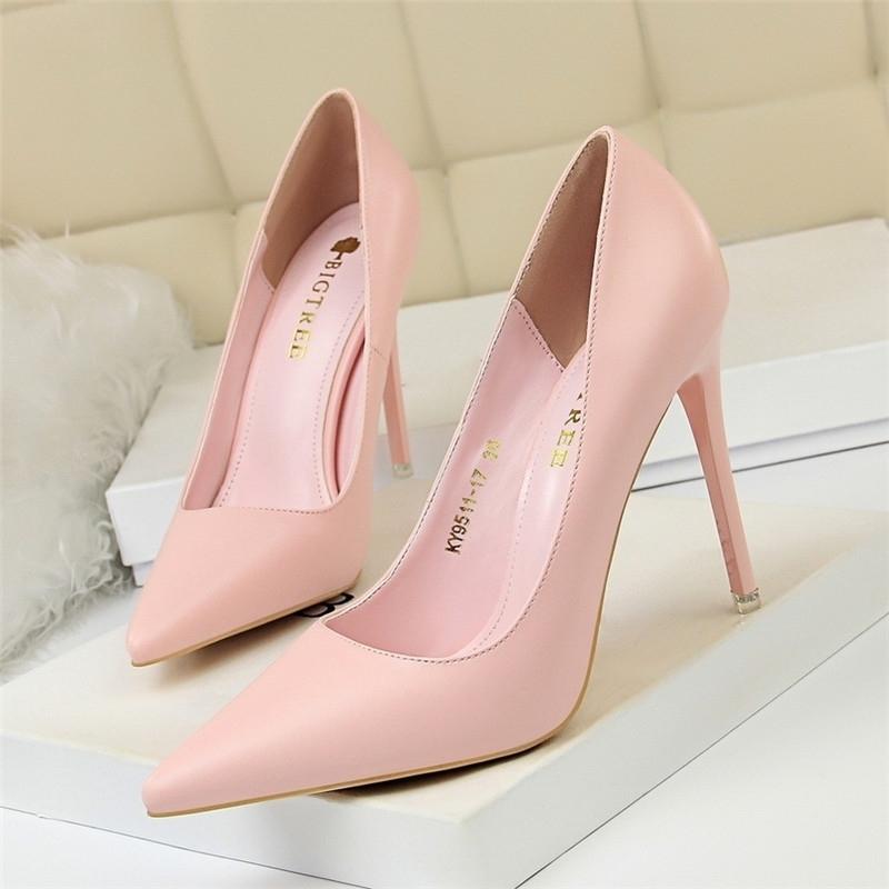 Каблуки обувь женщин большой размер высокие каблуки розовые насосы весна точечные каблуки матовый элегантный сладкий синий розовый размер 43 женские туфли 210204