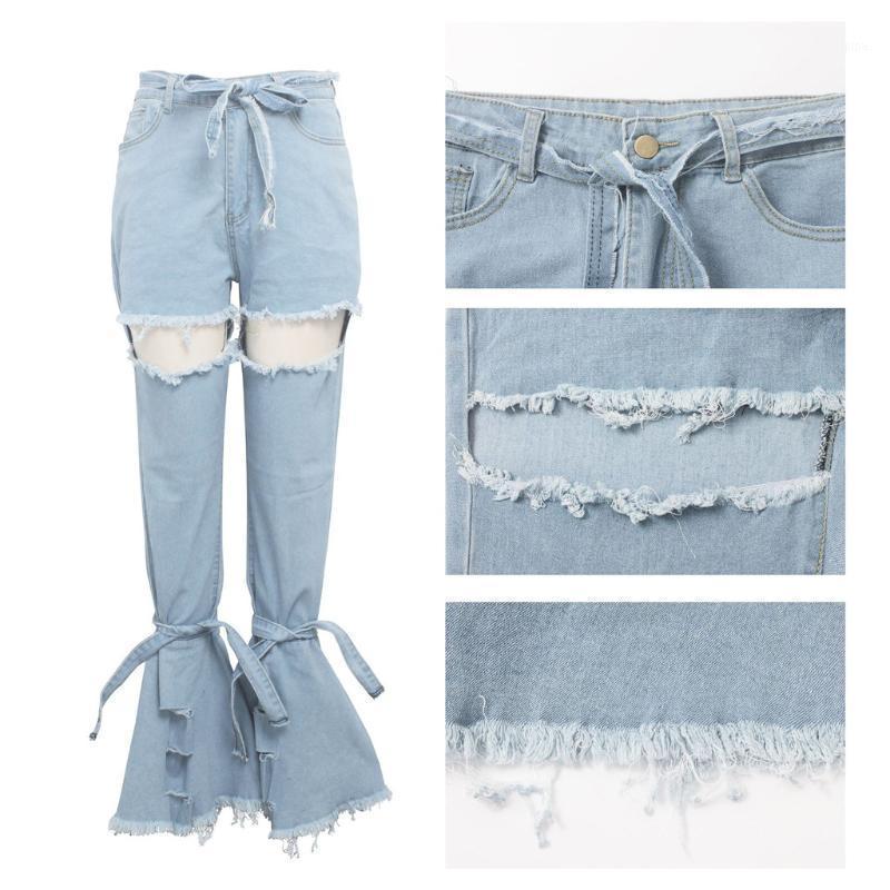 2020 весенние женщины синий середина талии вспышки колокол Нижние дамы сексуальные растяжения дыра джинсы мода широкая нога джинсовые брюки # 0127г101