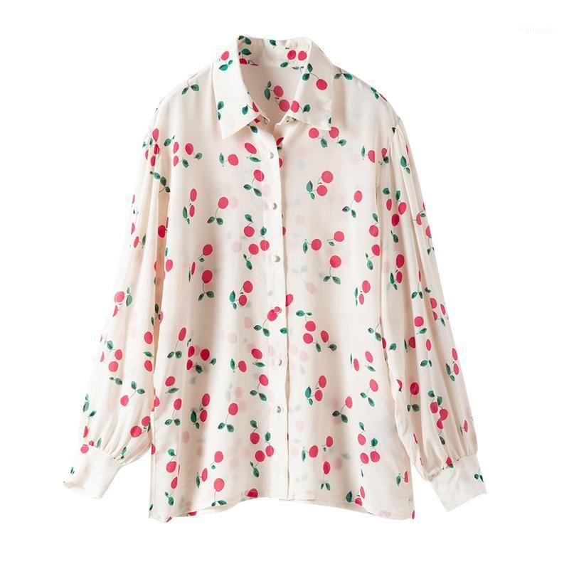 Camicetta di seta del 100% della camicetta di marca della camicetta di alta fascia alta Primavera di lusso elegante della ciliegia della ciliegia della ciliegia della ciliegia