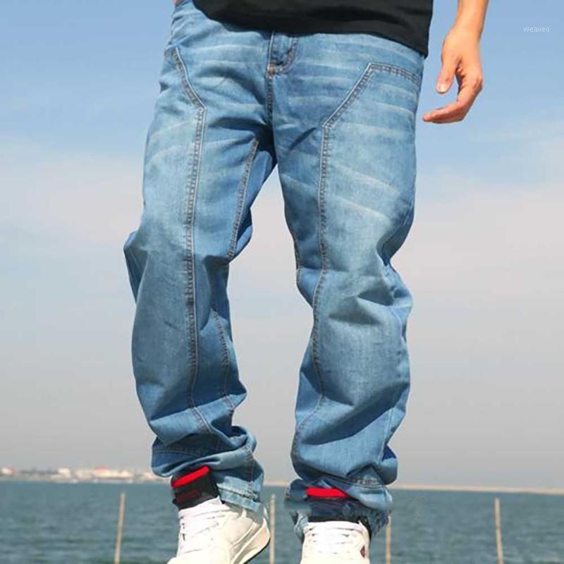 Taille De Mode Jeans Hommes Casual Denim Pantalons Loos Loos Baggy Jeunes Pantalons droits HiPhop Harem Streetwear Hommes Vêtements1