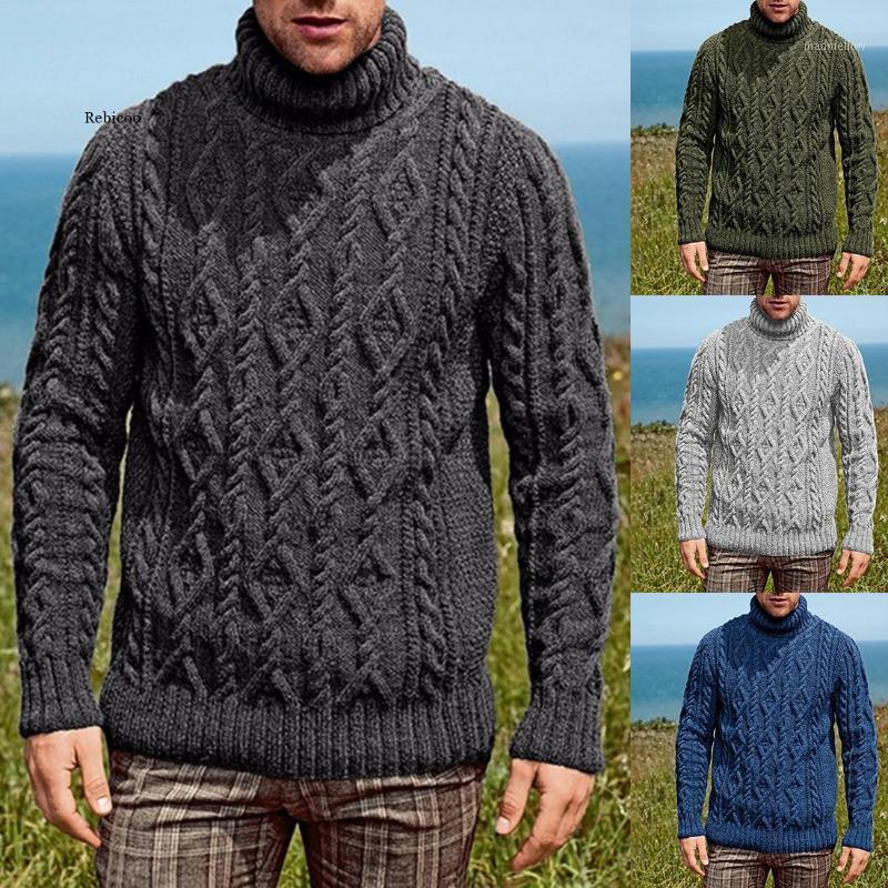 4 Color Hombres Moda Suéter Color Sólido Manga Larga Turleneck Invierno Punto Blusa Casual Plus Tize Knitwear Pullover1