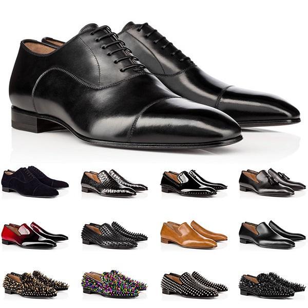 2021 Tasarımcı Erkek Hakiki Deri Ayakkabı Kırmızı Dipleri Düşük Kesim Çivili Spike Elbise Ayakkabı Düğün Parti Erkek Eğitmenler Sneakers Boyutu 40-47