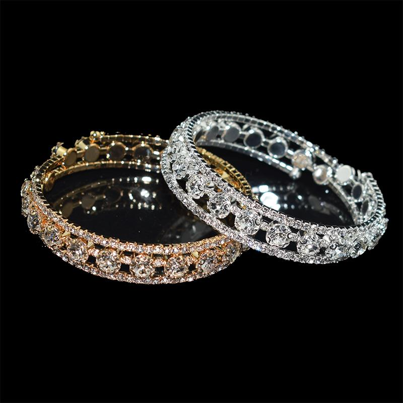 Luxury Women Silver Plated Crystal Rhinestone Bracelets & Bangles for women Adjustable Wedding Pulseras Jewelry Gifts wholesale