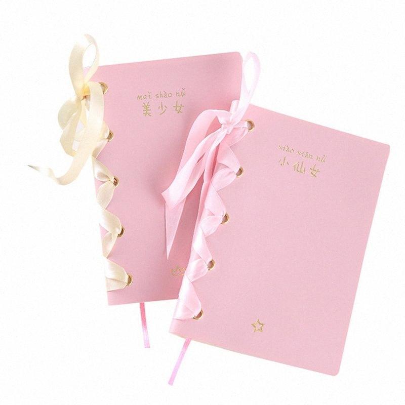 Fita sonho bonito caderno A menina fada Diário DIY Conta Mão Livro bowknot bonito Note Book vP3q #