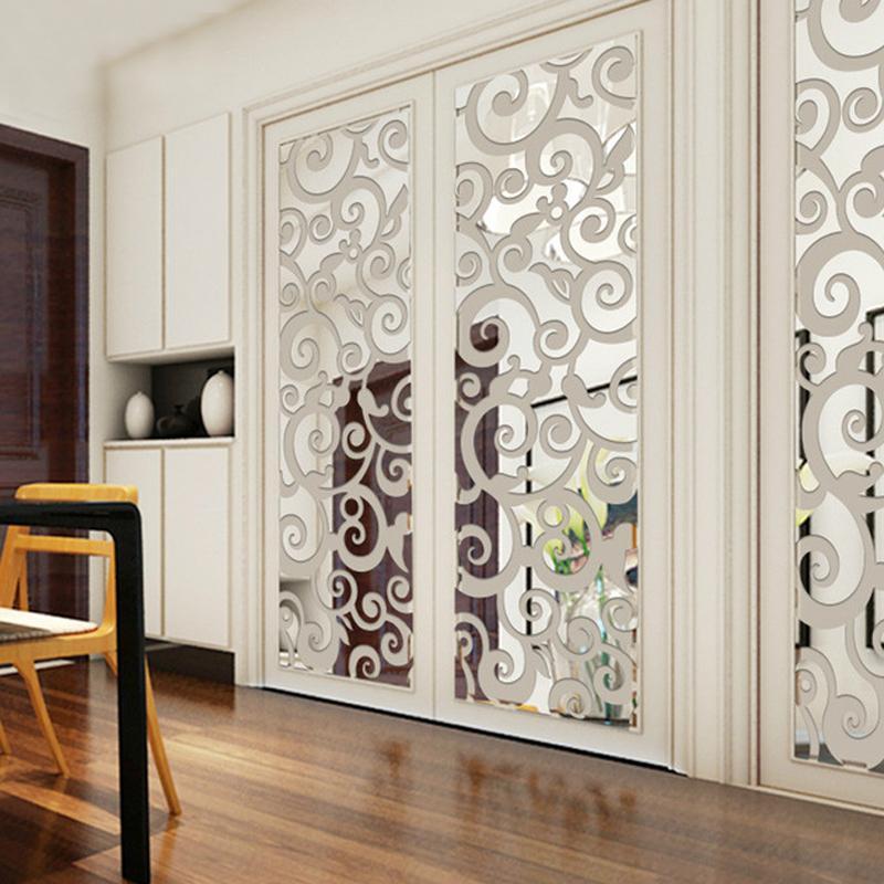 3D Nubes Patrón Acrílico Espejo Etiquetas de Pared Sala de estar Habitación Entrada Entrada TV Fondo Pegatinas de Pared Decorativas Decoración para el hogar 201202