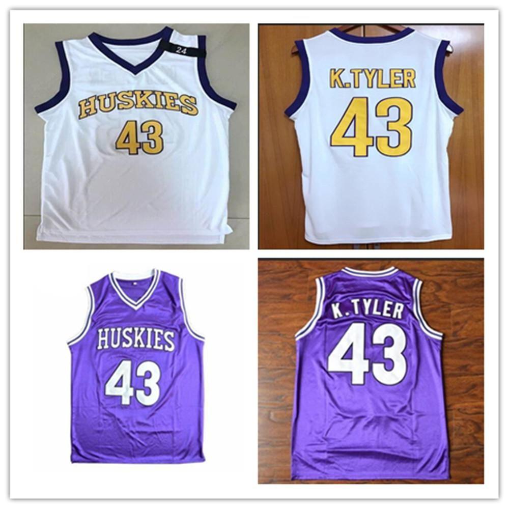 Ncaa kenny tyler 43 huskies jersey homens costurados personalizados qualquer número Nome de basquete jerseys de qualidade
