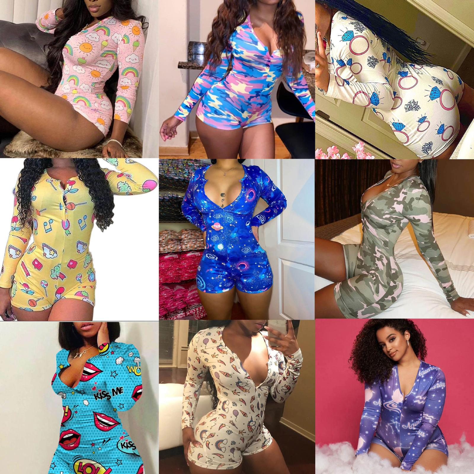 New Adult Sexy Sexy V-neck camouflage lipstick Print Long Sleeve Shorts tights women Onesies Sleepwear Long Sleeve Jumpsuits