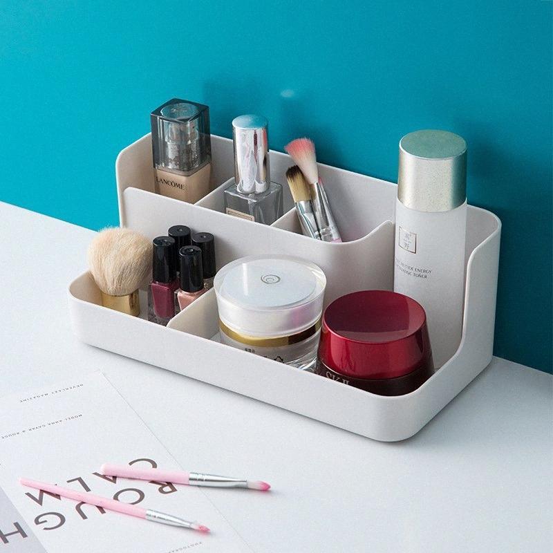Пластиковый Макияж Организатор Make Up Brush Ювелирного дело Коробки для хранения Cosmetic Organizer Office для настольного хранения Розового Белого nZgR #