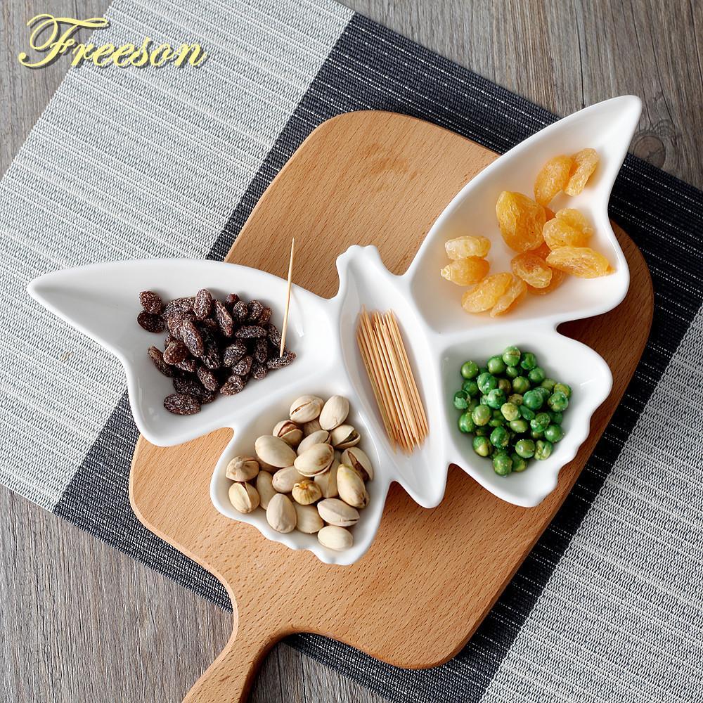 Farfalla creativa porcellana Piatti Snack di frutta Piatti torta Piatto Dolciumi piatto di insalata vassoio in ceramica da tavola Decorazioni da tavola C1108