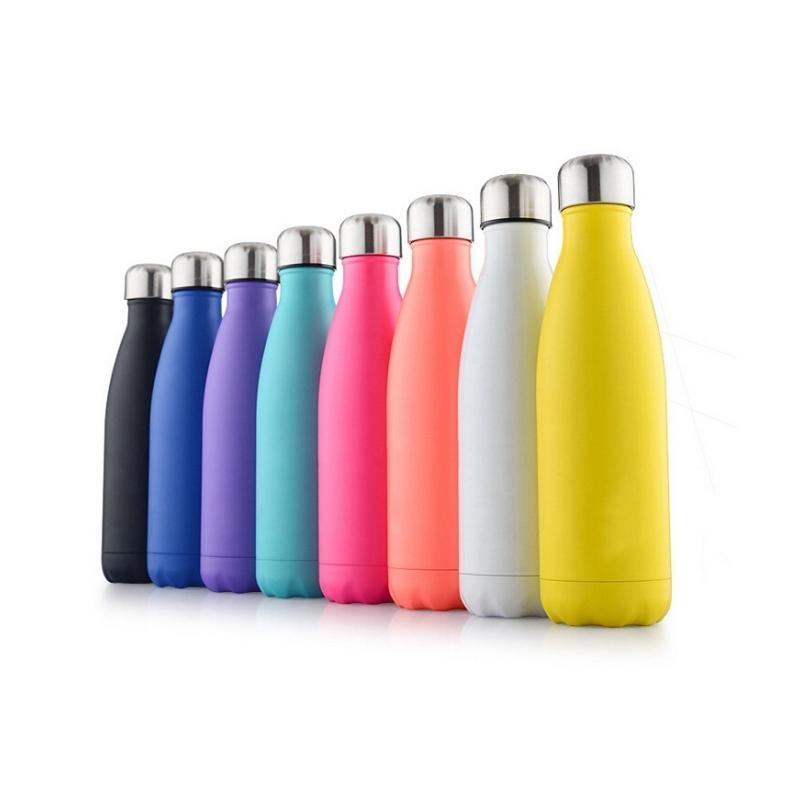 مزدوجة الجدران فراغ زجاجة معزول المياه كأس كولا شكل الفولاذ المقاوم للصدأ 500ML الرياضة فراغ زجاجات قوارير الترمس السفر KKB2695