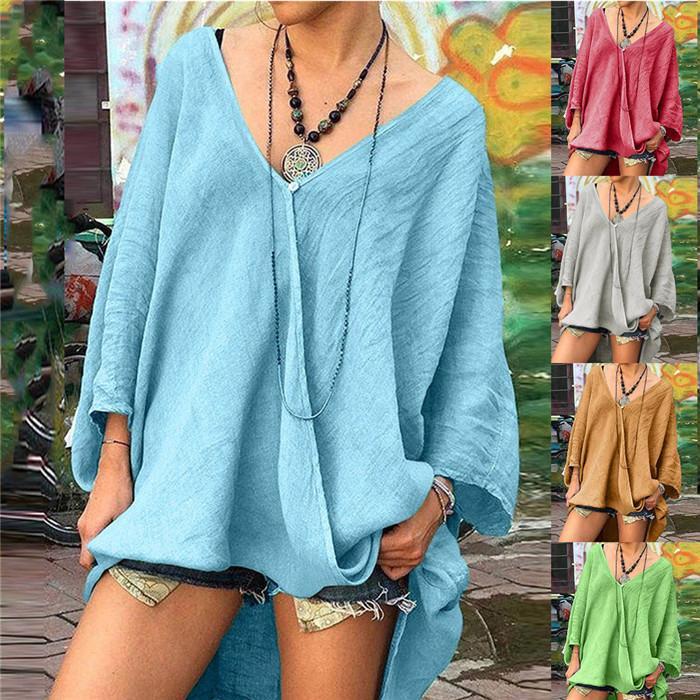 Artı Boyutu Gevşek T-Shirt Bayan Uzun Kollu V Boyun Düzensiz Kazak Üst Düz Renk Rahat Kadın İlkbahar Yaz Tişörtleri