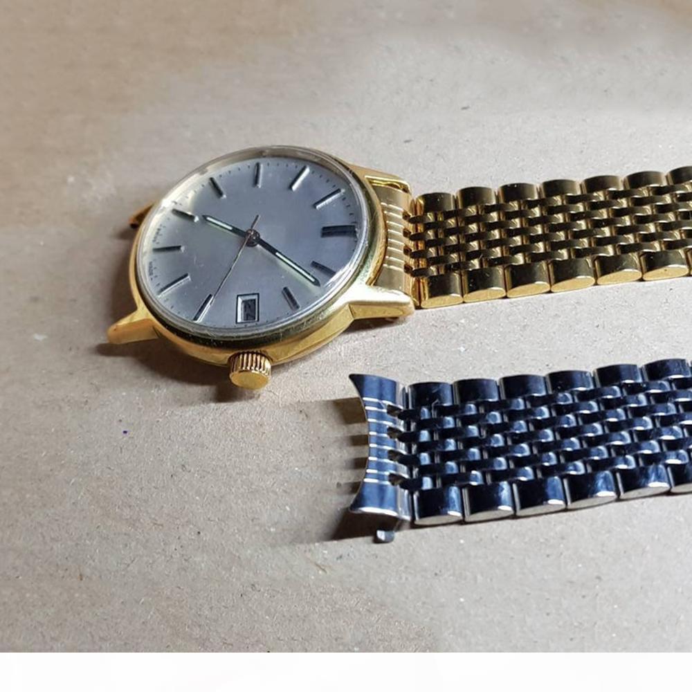 18 20mm Gümüş Altın İzle Kayış Bantları Katı 316L Paslanmaz Çelik Ile Hollow Link Lüks Watch Bands Bilezik Toka Omega Için Toka Yeni